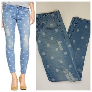 Gap Always Skinny Polk A Dot Distressed Jeans